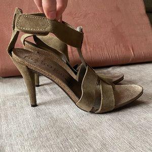 Pedro Garcia Khaki Green Suede Ankle Strap Heels Size 40.5